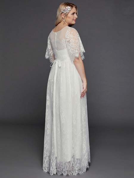 A-Line Wedding Dresses Illusion Neck Jewel Neck Floor Length Lace Tulle Half Sleeve Formal Boho Little White Dress See-Through_2
