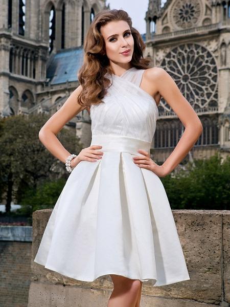 Ball Gown A-Line Wedding Dresses V Neck Knee Length Organza Satin Sleeveless Little White Dress_5