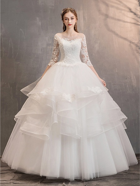 Ball Gown Wedding Dresses Jewel Neck Floor Length Lace Tulle Half Sleeve Glamorous See-Through Backless Illusion Sleeve_15