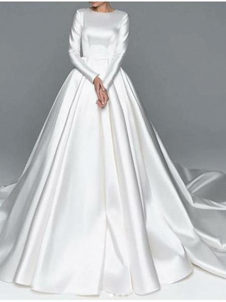 A-Line Wedding Dresses Jewel Neck Chapel Train Satin Long Sleeve Simple Plus Size Elegant_1
