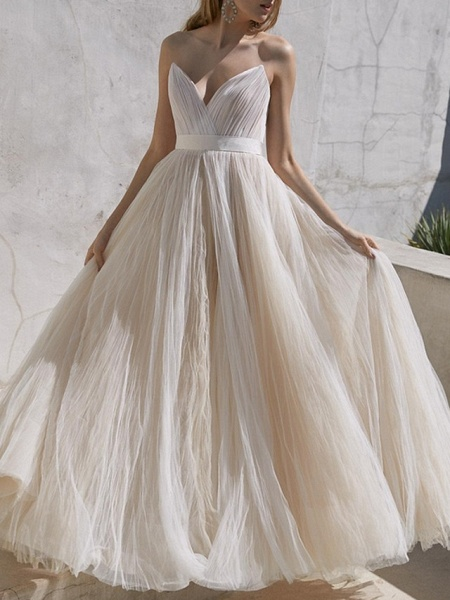 A-Line Wedding Dresses Sweetheart Neckline Sweep \ Brush Train Tulle Strapless Plus Size_1