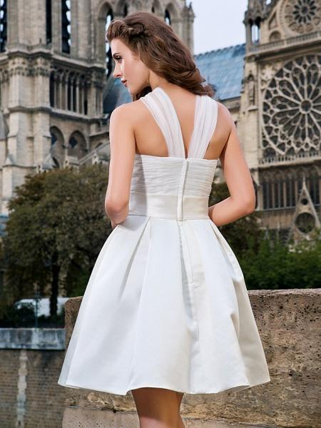 Ball Gown A-Line Wedding Dresses V Neck Knee Length Organza Satin Sleeveless Little White Dress_6