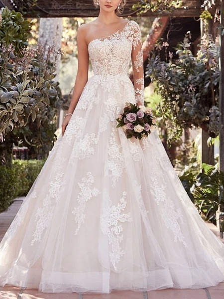 A-Line Wedding Dresses One Shoulder Court Train Lace Tulle Long Sleeve Illusion Sleeve_1