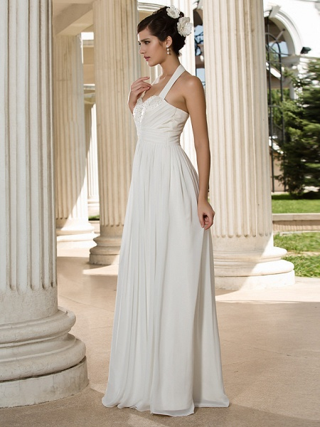 A-Line Wedding Dresses Halter Neck Floor Length Chiffon Sleeveless See-Through_4