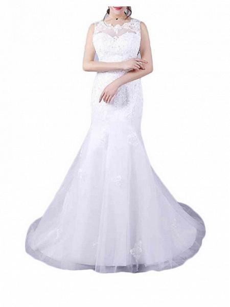 Mermaid \ Trumpet Wedding Dresses Jewel Neck Floor Length Lace Sleeveless Casual Plus Size_4