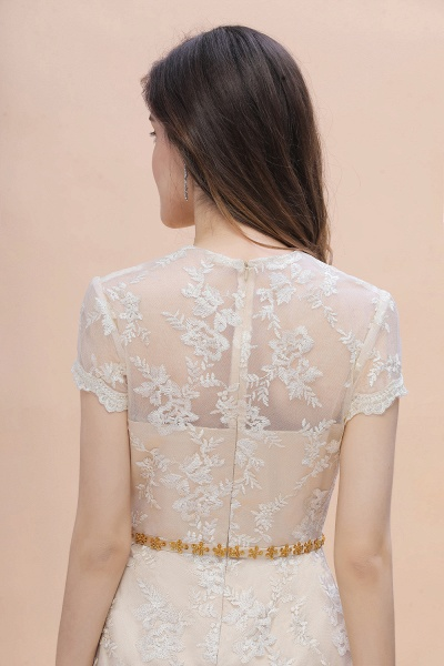 Tulle Lace Beads Belt Short Sleeves Mother of Bride Dress_10
