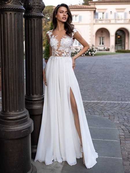 A-Line Wedding Dresses V Neck Sweep \ Brush Train Chiffon Lace Regular Straps Beach Sexy Illusion Detail Backless_1