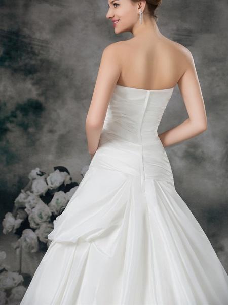 A-Line Sweetheart Neckline Court Train Satin Taffeta Strapless Wedding Dresses_6