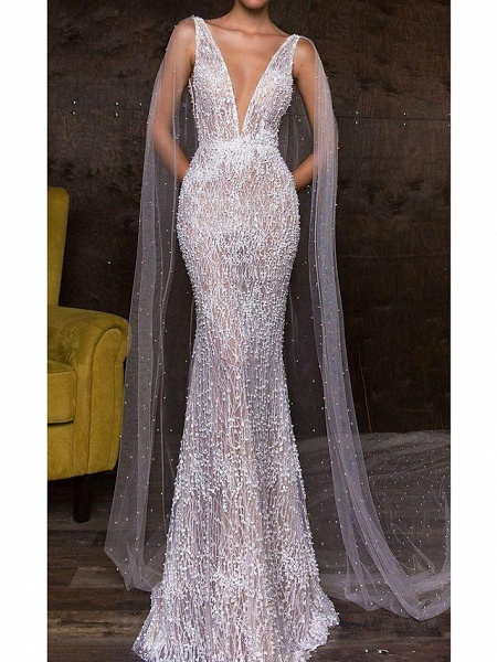 Mermaid \ Trumpet Plunging Neck Sweep \ Brush Train Polyester Sleeveless Sexy Plus Size Wedding Dresses_1
