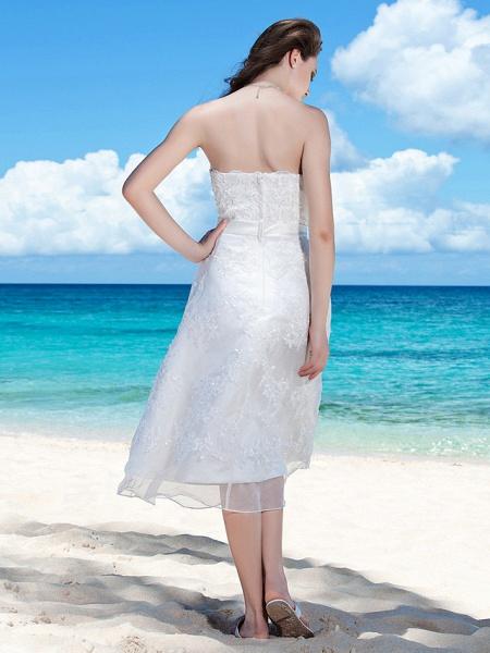 Sheath \ Column Wedding Dresses Strapless Tea Length Organza Sleeveless Little White Dress_4