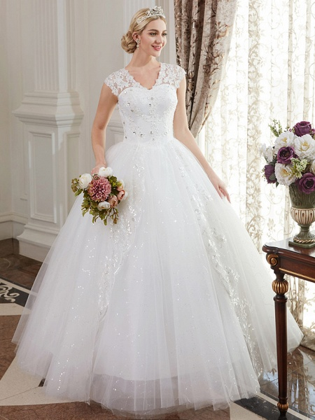 Ball Gown Wedding Dresses V Neck Floor Length Satin Lace Over Tulle Cap Sleeve Romantic Illusion Detail_1