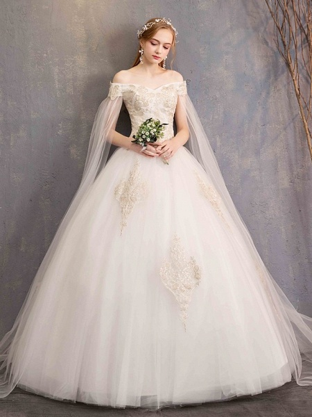 Ball Gown Wedding Dresses Off Shoulder Maxi Tulle Lace Over Satin Short Sleeve Glamorous Illusion Detail_8