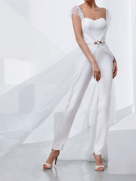 Two Piece Jumpsuits Wedding Dresses Strapless Sweep \ Brush Train Lace Stretch Satin Short Sleeve Country Plus Size_1