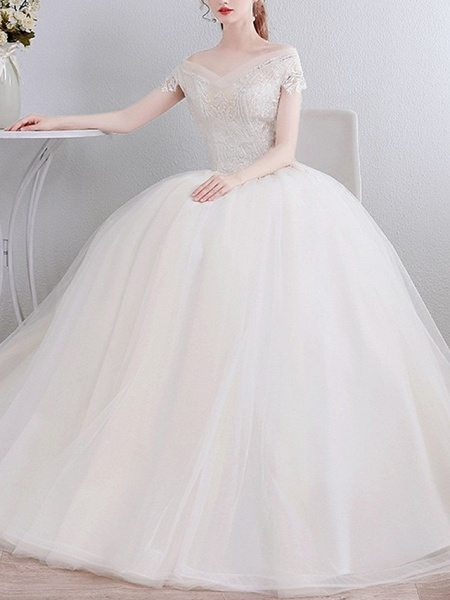 Ball Gown Wedding Dresses Off Shoulder Floor Length Lace Short Sleeve Beach_2