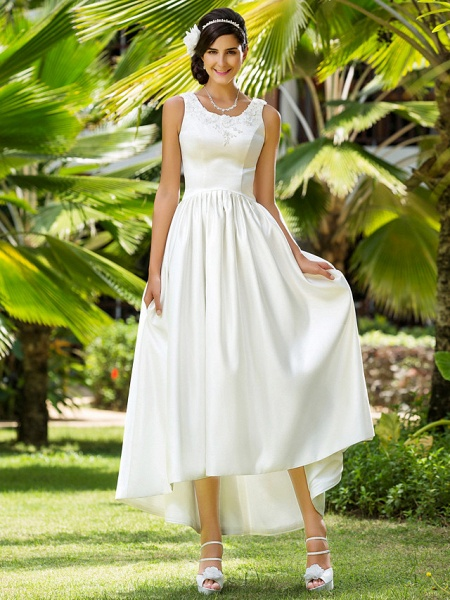 Princess A-Line Wedding Dresses Scoop Neck Asymmetrical Satin Sleeveless_2