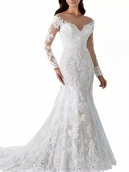 Mermaid \ Trumpet Scoop Neck Chapel Train Lace Tulle Lace Over Satin Long Sleeve Formal Sexy Beautiful Back Illusion Sleeve Wedding Dresses_3