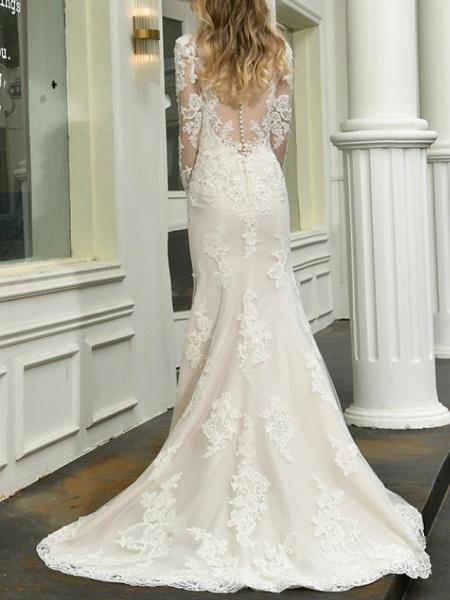 Mermaid \ Trumpet V Neck Sweep \ Brush Train Lace Tulle Long Sleeve Casual Plus Size Illusion Sleeve Wedding Dresses_2