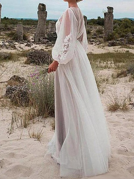A-Line Wedding Dresses Jewel Neck Floor Length Tulle Long Sleeve Romantic Beach Boho See-Through Illusion Sleeve_2