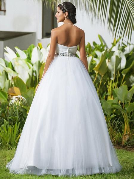 Ball Gown Wedding Dresses Sweetheart Neckline Floor Length Tulle Sleeveless Open Back_4