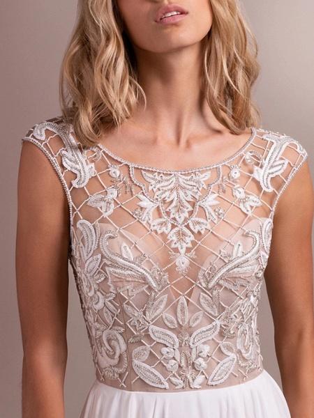 A-Line Wedding Dresses Jewel Neck Sweep \ Brush Train Organza Regular Straps_2