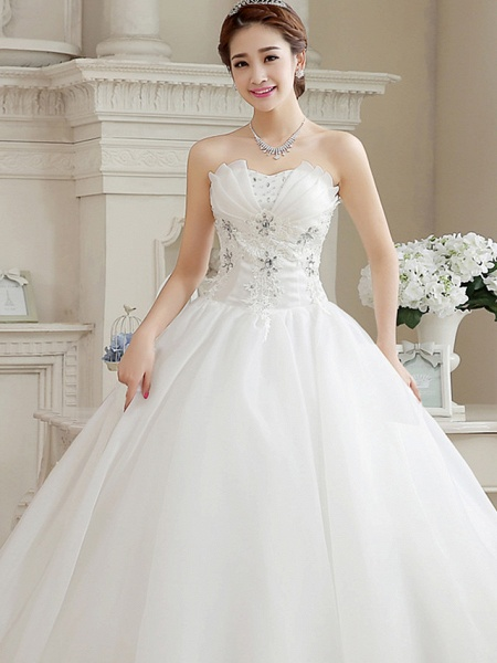 Ball Gown Wedding Dresses Sweetheart Neckline Floor Length Organza Strapless Glamorous Sparkle & Shine_7