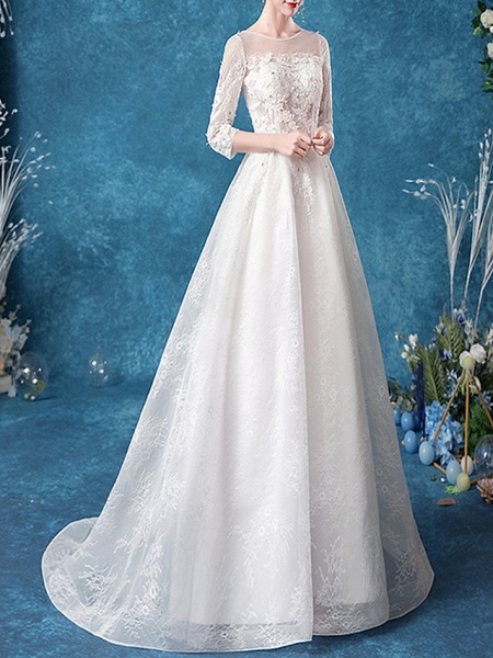 A-Line Jewel Neck Court Train Chiffon Tulle 3\4 Length Sleeve Formal Plus Size Illusion Sleeve Wedding Dresses_2