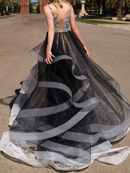 A-Line Wedding Dresses Strapless Floor Length Polyester Strapless Formal Plus Size Black Modern_3