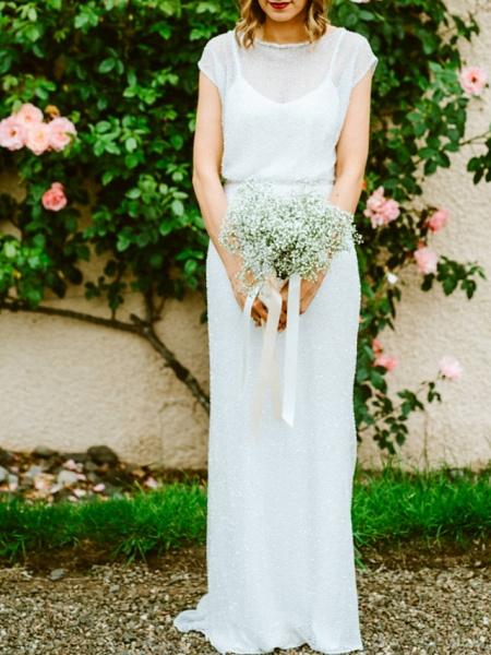 Sheath \ Column Wedding Dresses Jewel Neck Floor Length Tulle Sequined Half Sleeve Beach Sexy_1