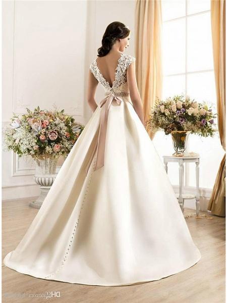 A-Line Wedding Dresses Bateau Neck Court Train Lace Chiffon Over Satin Regular Straps Vintage Backless_3