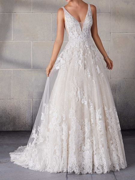 A-Line Wedding Dresses Spaghetti Strap Sweep \ Brush Train Lace Tulle Sleeveless Country Plus Size_1