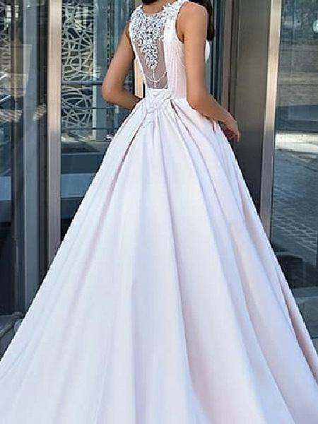 A-Line Wedding Dresses Jewel Neck Sweep \ Brush Train Satin Sleeveless Country Plus Size_3