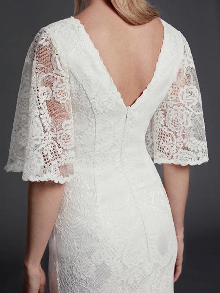 Mermaid \ Trumpet Wedding Dresses V Neck Sweep \ Brush Train Lace Half Sleeve Beautiful Back_8