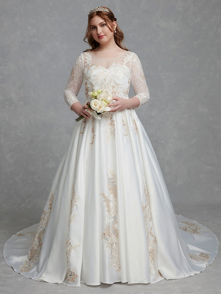 A-Line Wedding Dresses Scoop Neck Court Train Lace Satin Long Sleeve Romantic Glamorous See-Through Illusion Sleeve_4
