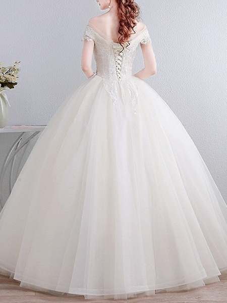 Ball Gown Wedding Dresses Off Shoulder Floor Length Lace Short Sleeve Beach_3