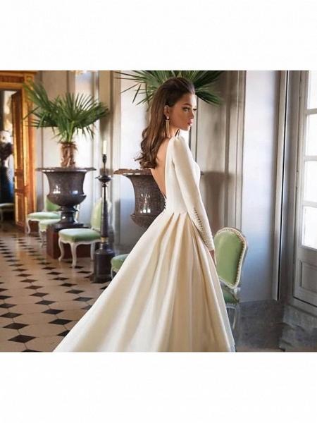 A-Line Wedding Dresses Bateau Neck Court Train Polyester Long Sleeve Simple Backless Elegant_3