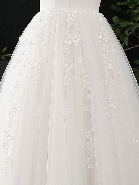 A-Line V Neck Court Train Satin Tulle Half Sleeve Simple Elegant Wedding Dresses_8