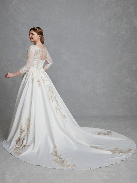 A-Line Wedding Dresses Scoop Neck Court Train Lace Satin Long Sleeve Romantic Glamorous See-Through Illusion Sleeve_2