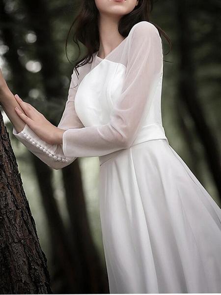 A-Line Wedding Dresses V Neck Court Train Chiffon Satin Long Sleeve Simple Elegant_6
