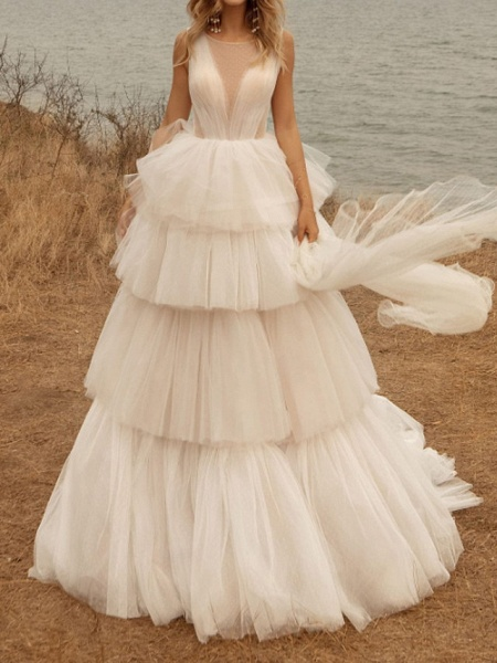 A-Line Wedding Dresses Jewel Neck Sweep \ Brush Train Tulle Polyester Sleeveless Country Plus Size_1