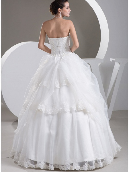 Ball Gown Sweetheart Neckline Floor Length Lace Organza Satin Strapless Wedding Dresses_3