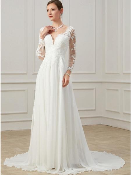 Sheath \ Column Wedding Dresses V Neck Sweep \ Brush Train Lace Tulle Long Sleeve Formal Plus Size Illusion Sleeve_5