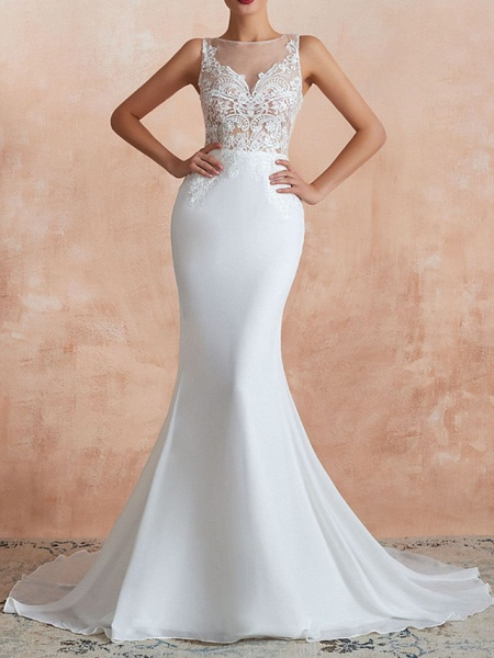 Mermaid \ Trumpet Wedding Dresses Jewel Neck Sweep \ Brush Train Lace Tulle Sleeveless Sexy Illusion Detail_1