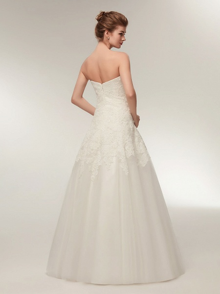 A-Line Wedding Dresses Strapless Floor Length Lace Tulle Strapless Formal Illusion Detail_6