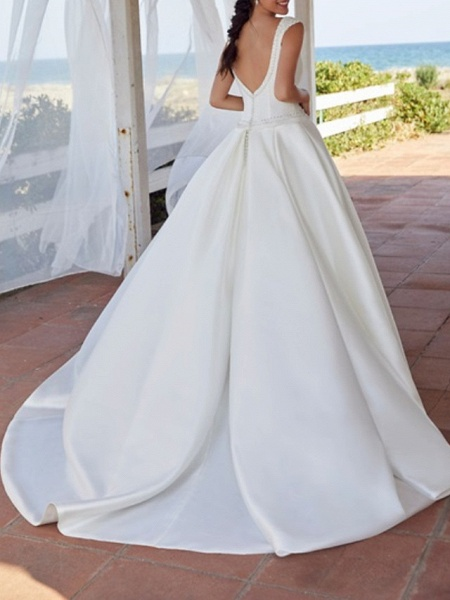 A-Line Wedding Dresses Jewel Neck Sweep \ Brush Train Satin Sleeveless Simple_2