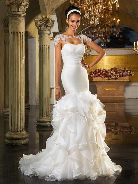 Mermaid \ Trumpet Wedding Dresses Sweetheart Neckline Sweep \ Brush Train Organza Tulle Cap Sleeve Formal Separate Bodies_5