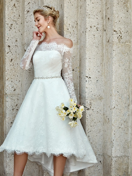 A-Line Wedding Dresses Off Shoulder Asymmetrical Lace Long Sleeve Casual Plus Size Illusion Sleeve_11