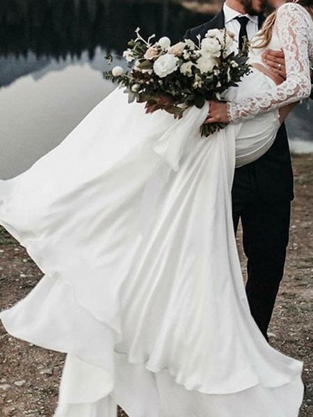 A-Line Wedding Dresses Jewel Neck Sweep \ Brush Train Chiffon Lace Long Sleeve Beach_3