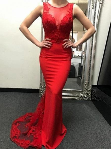 Mermaid \ Trumpet Wedding Dresses Jewel Neck Sweep \ Brush Train Polyester Regular Straps Romantic Plus Size Red_1