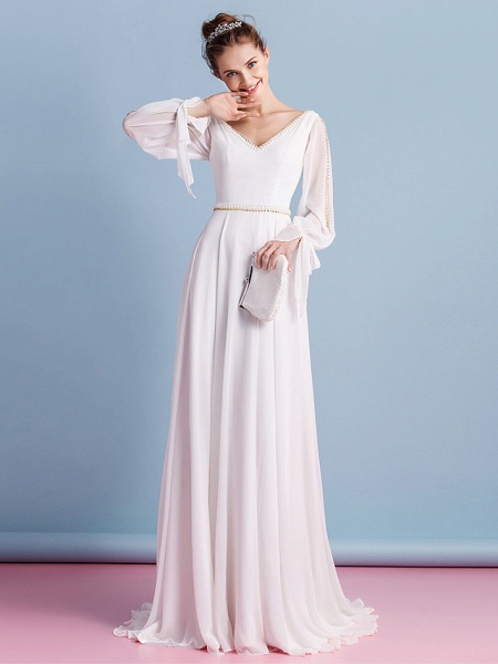 Sheath \ Column Wedding Dresses V Neck Court Train Chiffon Long Sleeve_1