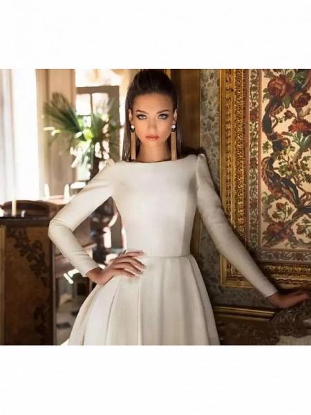 A-Line Wedding Dresses Bateau Neck Court Train Polyester Long Sleeve Simple Backless Elegant_2